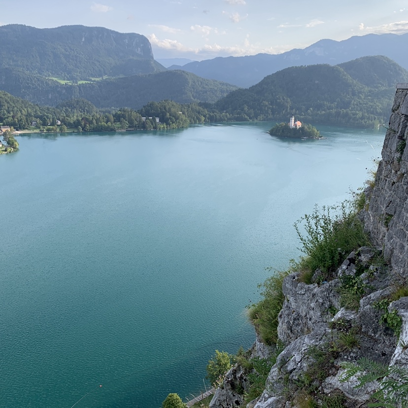 A viewpoint of Lake Bled from Bled Castle.